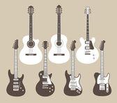 Vektor silhuetter av akustiska och elektriska gitarrer — Stockvektor
