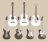 Vector silhouettes of acoustic and electric guitars — Stock Vector