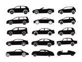 Colección de siluetas de los coches modernos y vintage — Vector de stock