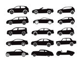 Modern and vintage cars silhouettes collection — Vector de stock