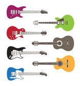 Kleur vector silhouetten van akoestische en elektrische gitaren — Stockvector