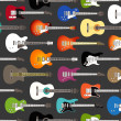 Stock Vector: Seamless background of color acoustic and electric guitars