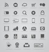 Raccolta di icone di moderni mezzi di comunicazione sociale — Vettoriale Stock