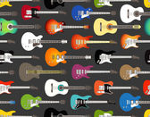 Seamless background of color acoustic and electric guitars — Stock Vector