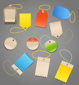 Collection of shopping tags with rope — Stock Vector