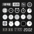 图库矢量图片: Black and white different clocks collection