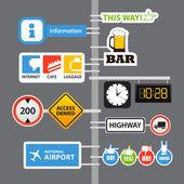 在列上不同的道路标志 — 图库矢量图片