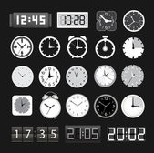 Black and white different clocks collection — Stock Vector