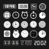 Zwart-wit verschillende klokken collectie — Stockvector