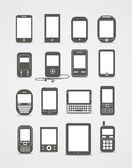 Abstracte stijl moderne en vintage mobiele gadgets — Stockvector