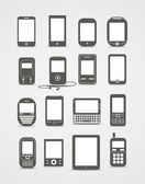Aparatos móviles modernos y vintage estilo abstracto — Vector de stock