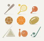 Abstract style sports equipment icons — Stock Vector