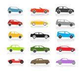 Modern and vintage color cars collection — Stock vektor