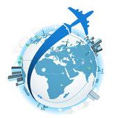 Viajando en un avión. ilustración vectorial — Vector de stock