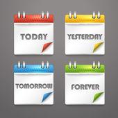 Iconos de diario de papel con las esquinas dobladas color — Vector de stock