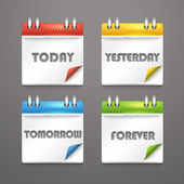 Paper diary icons with bended color corners — Stock Vector