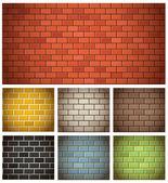Různé barvy cihel textury kolekce — Stock vektor