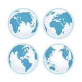 地球地图计划上白色隔离。矢量集合 — 图库矢量图片