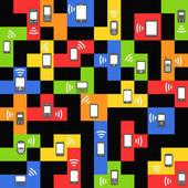 Stile astratto gadget mobili moderni e d'epoca su blocchi di colore — Vettoriale Stock