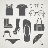 Jeu des silhouettes de vêtements à la mode, — Vecteur