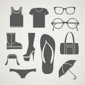 Set of fashionable clothes silhouettes, — Vecteur
