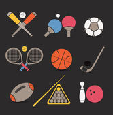 Abstract style sports equipment color icons — Stock Vector