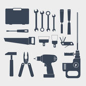 Electric and handy tool sillhouettes — Stockvector