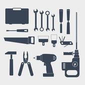 Herramienta eléctrica y práctico sillhouettes — Vector de stock