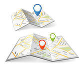 Folded maps with color point markers — Vettoriale Stock