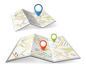 Mapas plegados con marcadores de punto color — Vector de stock