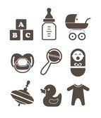 Baby`s accessories silhouettes collection isolated on white — Stock Vector