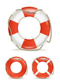 Life-buoy collection isolated on white — 图库矢量图片
