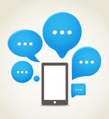 Modern cep telefonu konuşma bulutlar grup ile — Stok Vektör