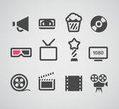 Cinema web silhouettes collection — Stock Vector