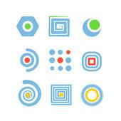 集合的抽象标识设计剪影 — 图库矢量图片