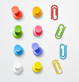 Color pins and clips collection — Stock Vector