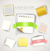Paper stickers with ribbons collection — Stock Vector