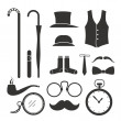 Gentlemens stuff design elements collection — Stock Vector