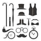 Gentlemens stuff design elements collection — Stock Vector