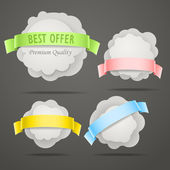 Abstract speech clouds with color ribbons Vector set — Stock Vector