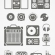 Stock Vector: Audio equipment icons collection