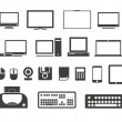 Electronuic equipment icons collection. Isolated on white — Stock Vector