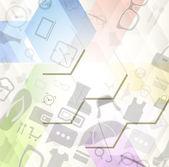 Abstracte achtergrond met winkelen pictogrammen — Stockvector