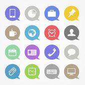 Pictogrammen bedrijfs van de web instellen in kleur toespraak wolken — Stockvector