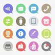 Communication web icons set in color speech clouds — 图库矢量图片