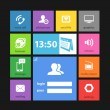 Web color tile interface template with modern icons - 图库矢量图片