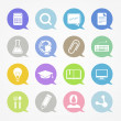 Education web icons set in color speech clouds — Stock vektor #23571657