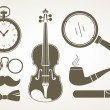 Stock Vector: Retro detective accessories