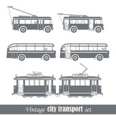 Vintage city transport vehicles set. Isolated on white — Stock Vector