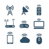 Wireless equipment icons collection isolated on white — Stock Vector